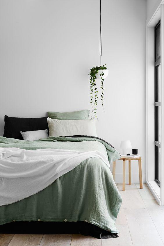 grønt sengelinned